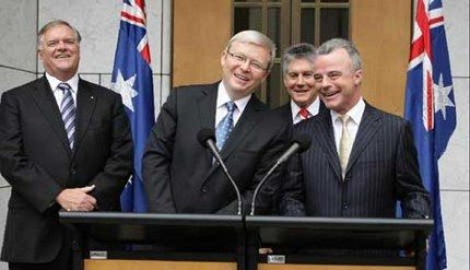 Rudd with two recent victims <i>(Kym Smith, Punch)</i>